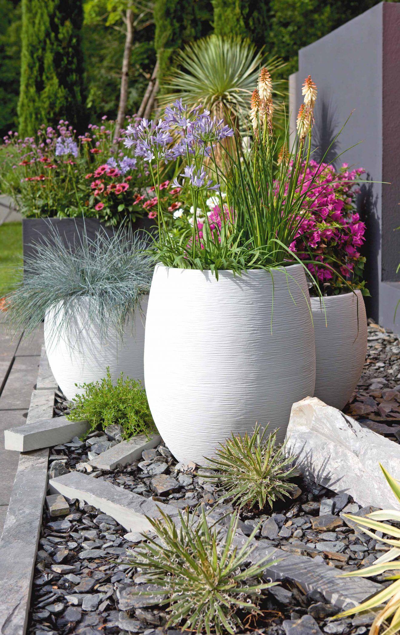 Les Pots Blancs Mettent En Avant La Couleur Vive Des Plantes ... concernant Pot Deco Jardin Exterieur