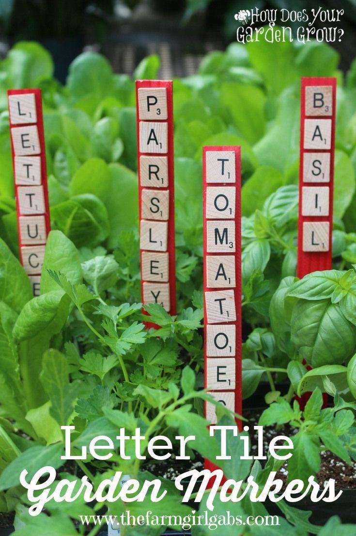 Letter Tile Garden Markers | Marqueurs De Jardin, Étiquette ... dedans Etiquette Jardin