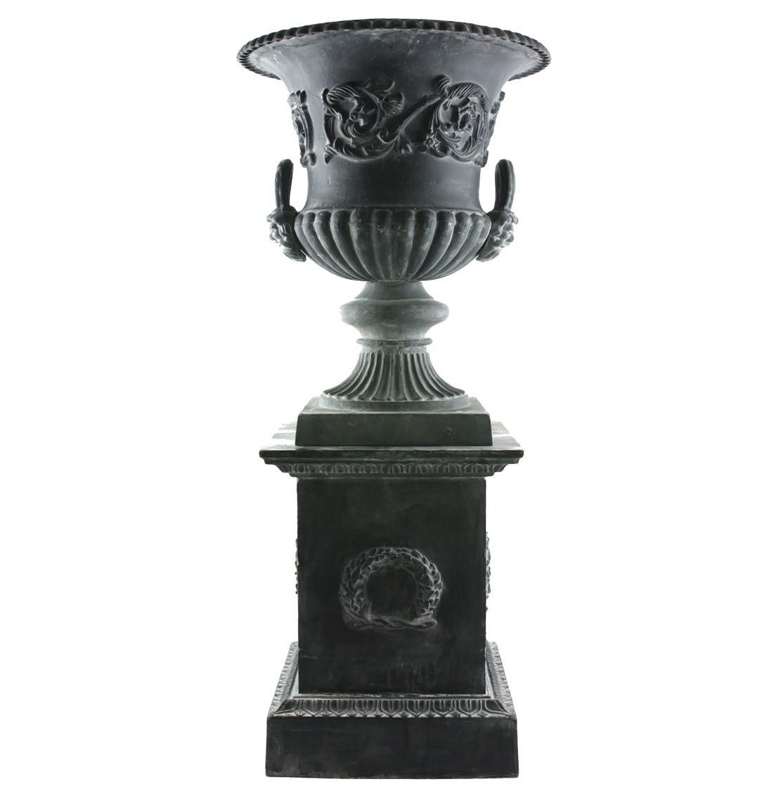 Lhéritier Du Temps Vase Vasque Jardiniere En Fonte Grise ... avec Pot En Fonte Pour Jardin