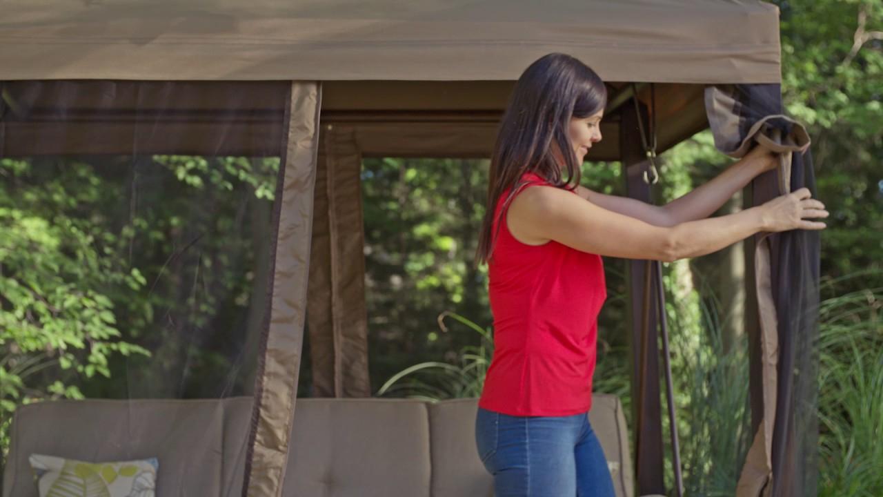 Lit Balancelle De Jardin Canvas Valencia Avec Moustiquaire intérieur Balancelle Convertible En Lit De Jardin