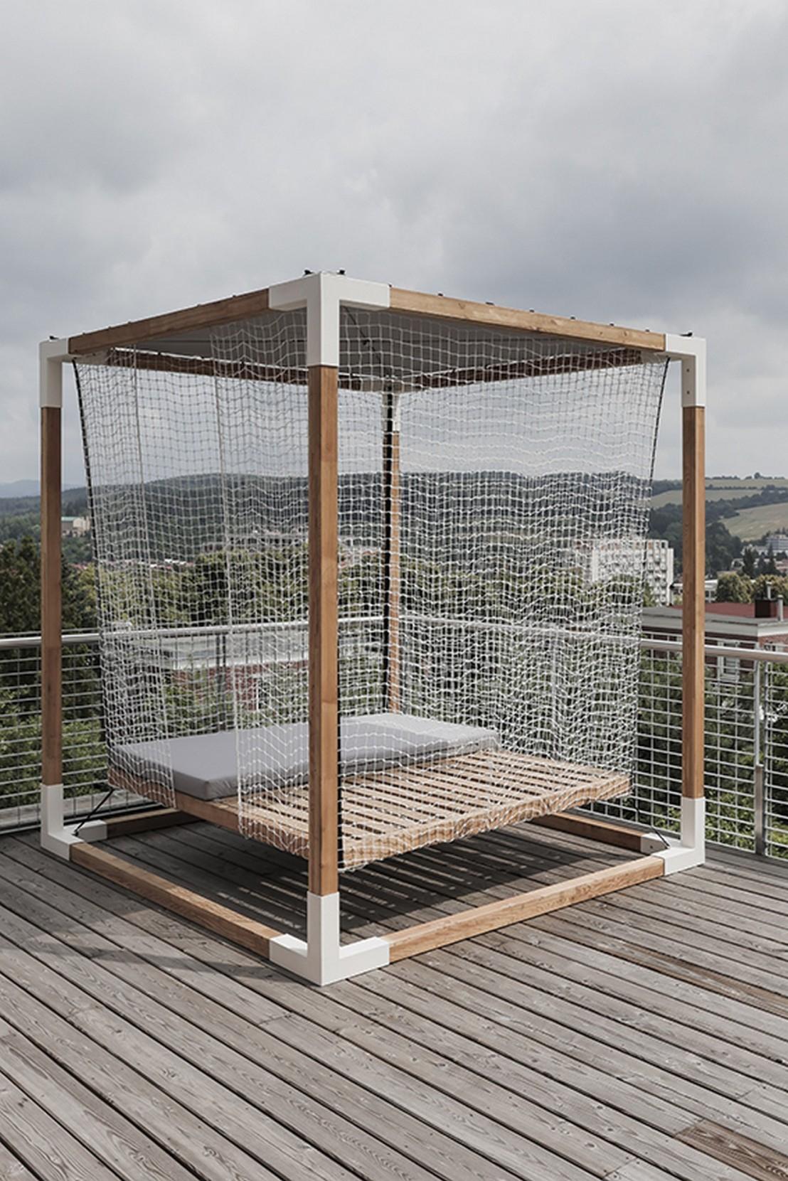 Lit De Jardin Hamac Suspendu En Cage Leva : Mobilier De ... intérieur Lit Suspendu Jardin