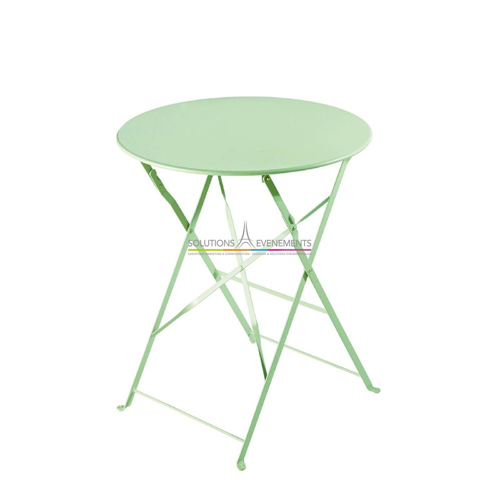 Location Table Jardin Metal Vert - Solutions Evenements encequiconcerne Salon De Jardin Vert Anis
