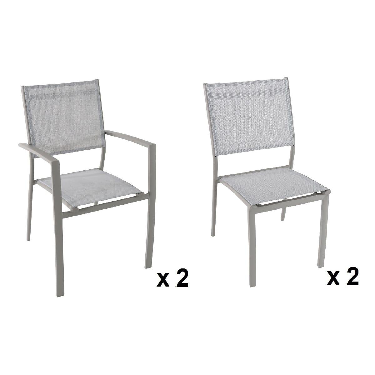 Lot De 2 Chaises + 2 Fauteuils Taupe Clara intérieur Auchan Chaise De Jardin