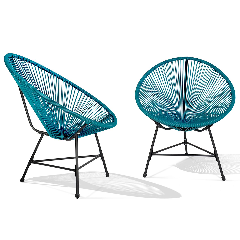 Lot De 2 Fauteuils De Jardin Izmir Bleu Canard Design Oeuf Cordage ... pour Fauteuil Oeuf Jardin