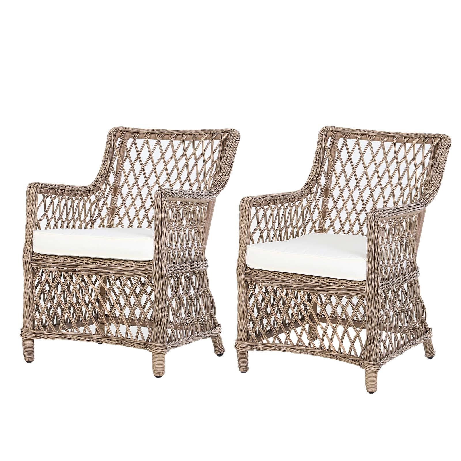 Lot De 2 Fauteuils Lounge De Jardin Style Cosy concernant Fauteuil De Jardin En Bois Style Americain