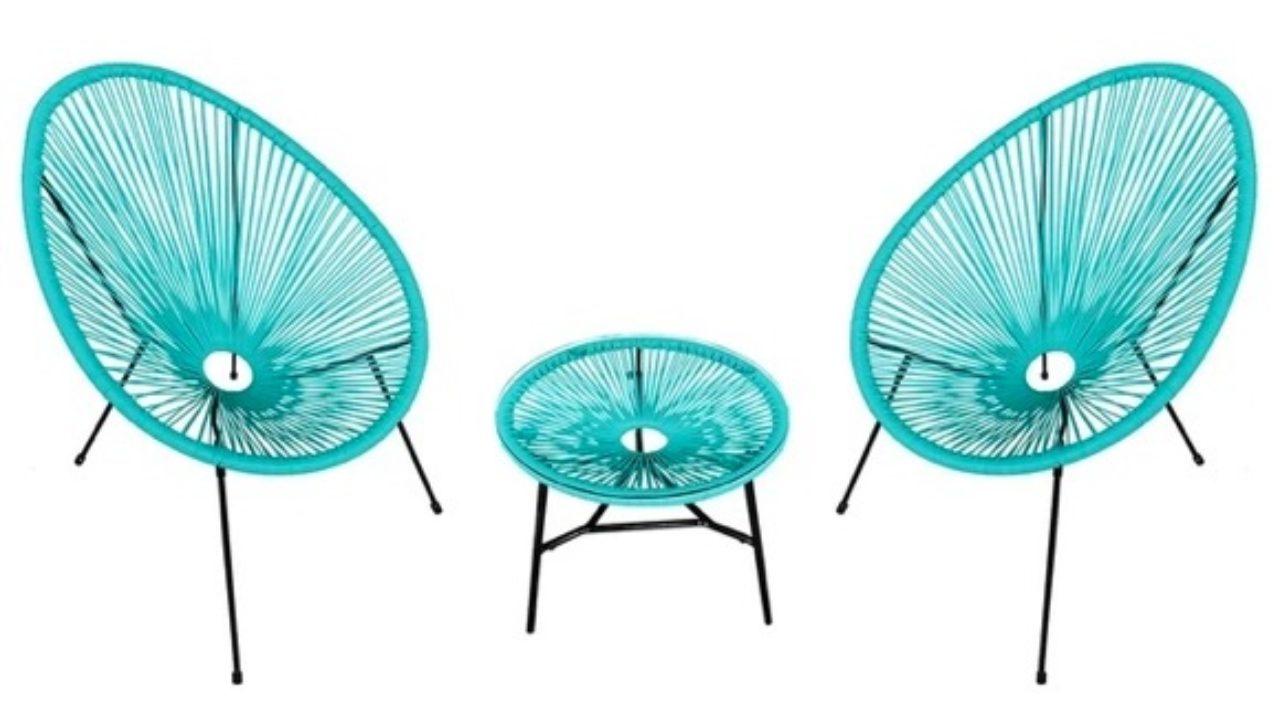 Lot De 2 Fauteuils Oeuf Bleu + Table Assortie (En Promotion ... destiné Fauteuil Oeuf Jardin