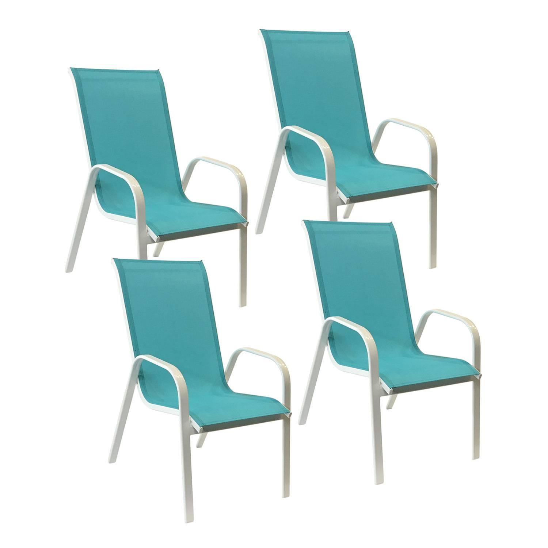 Lot De 4 Chaises De Jardin Aluminium Et Textilène Bleu ... tout Chaise De Jardin Bleu