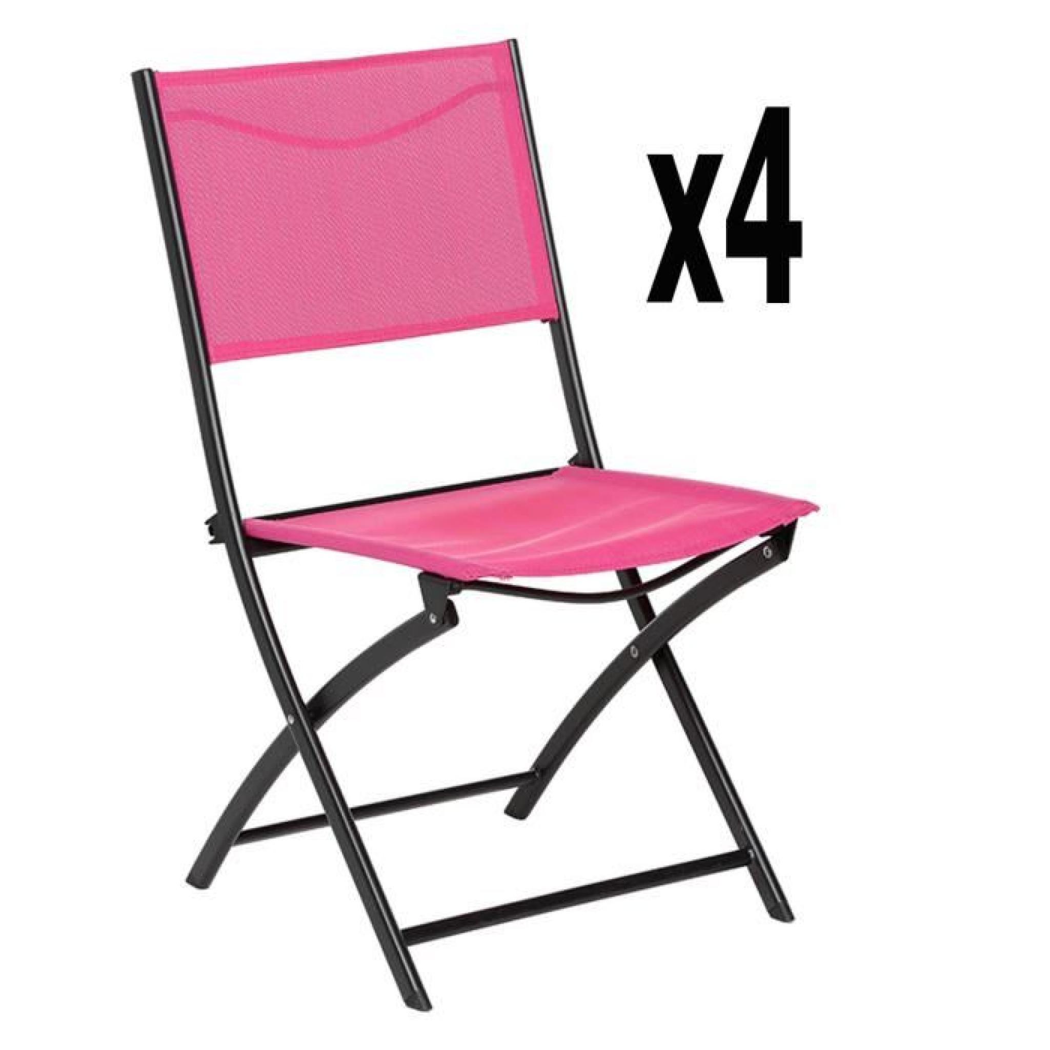 Lot De 4 Chaises Pliantes Belvedere Framboise-Noir - Dim : L 45.5 X P 53 X  H 84.5 Cm pour Chaise De Jardin Pliante Pas Cher