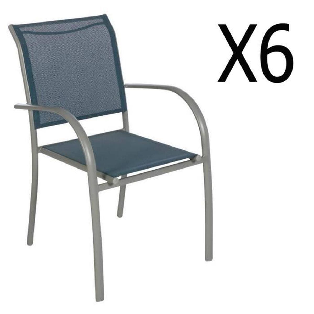 Lot De 6 Chaises De Jardin En Aluminium Et Texaline Coloris Bleu Orage -  Dim : L 56 X P 65 X H 88Cm tout Chaise De Jardin Bleu