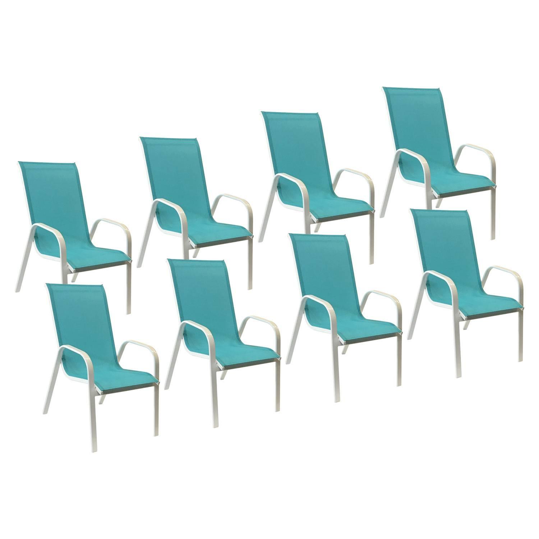 Lot De 8 Chaises De Jardin En Aluminium Et Textilène Bleu encequiconcerne Chaise De Jardin Bleu