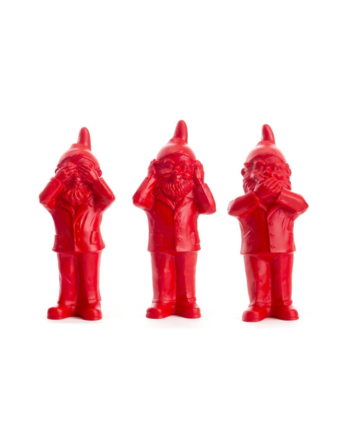 Lot De Sculptures Nain Qui Ne Voit Rien, N'entend Rien, Ne ... dedans Nain De Jardin Doigt D Honneur
