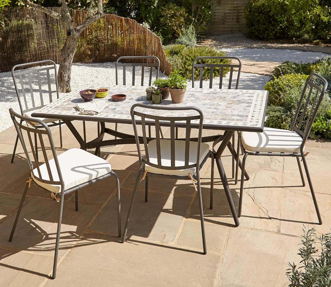 Lot Table De Jardin Métal Et Marbre Sofia + 4 Chaises De ... avec Chaises De Jardin Castorama