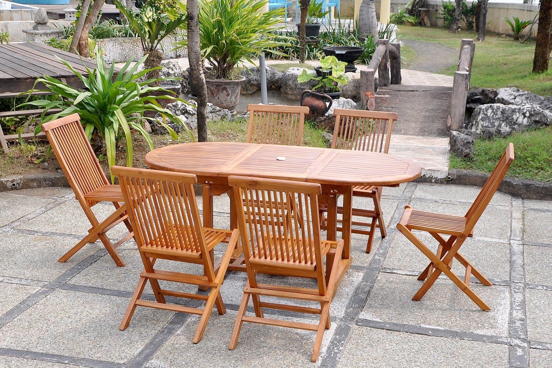 Lubok 6 Ovale à Table Et Chaise De Jardin En Teck Pas Cher