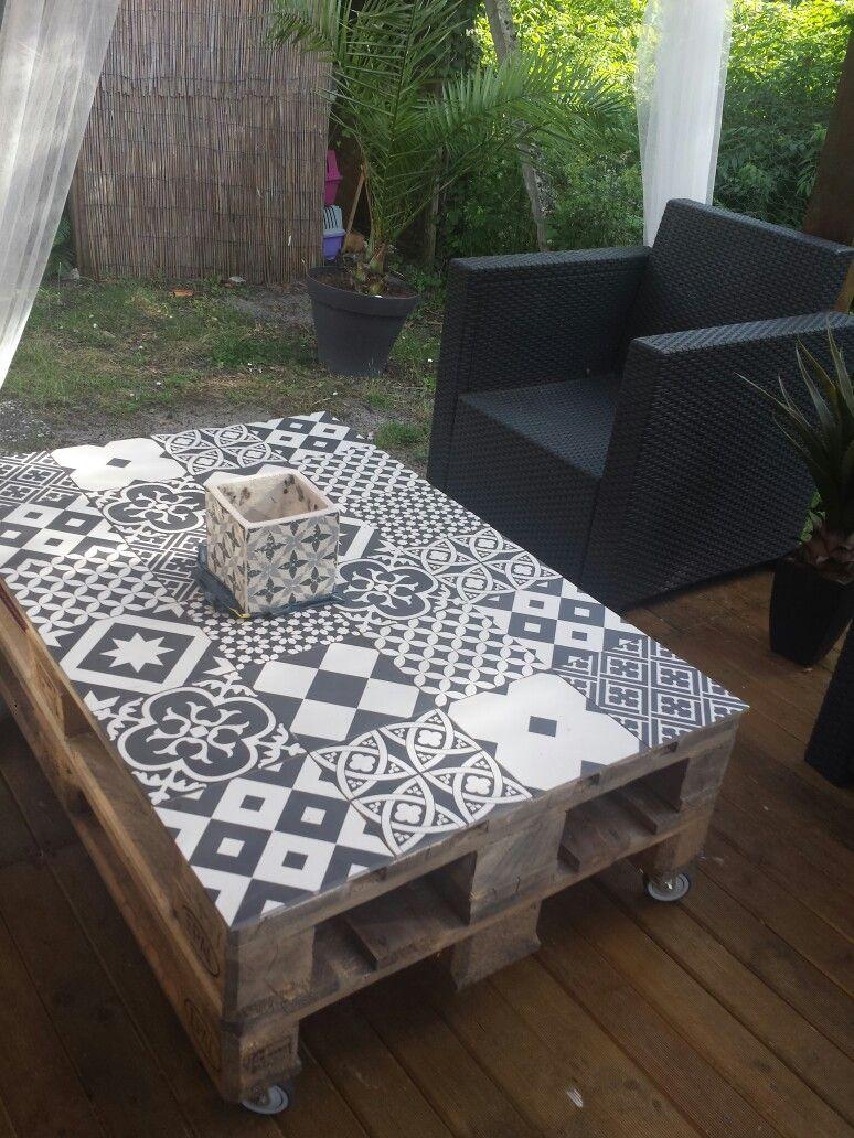 Ma Table Palette& Carreaux De Ciment. | Table Palette, Table ... dedans Table De Jardin En Ciment