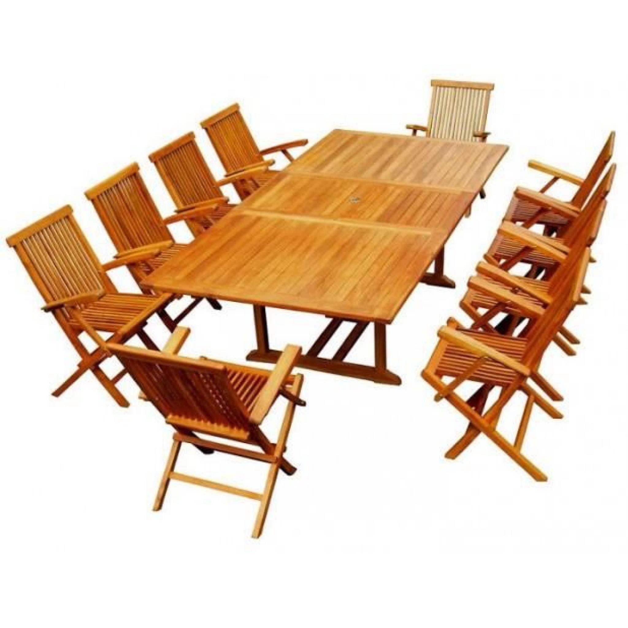 Magnifique Salon De Jardin Teck 'huilé' 10/12 Pers -100% Fauteuils+Table  Rect. à Salon De Jardin En Teck Pas Cher