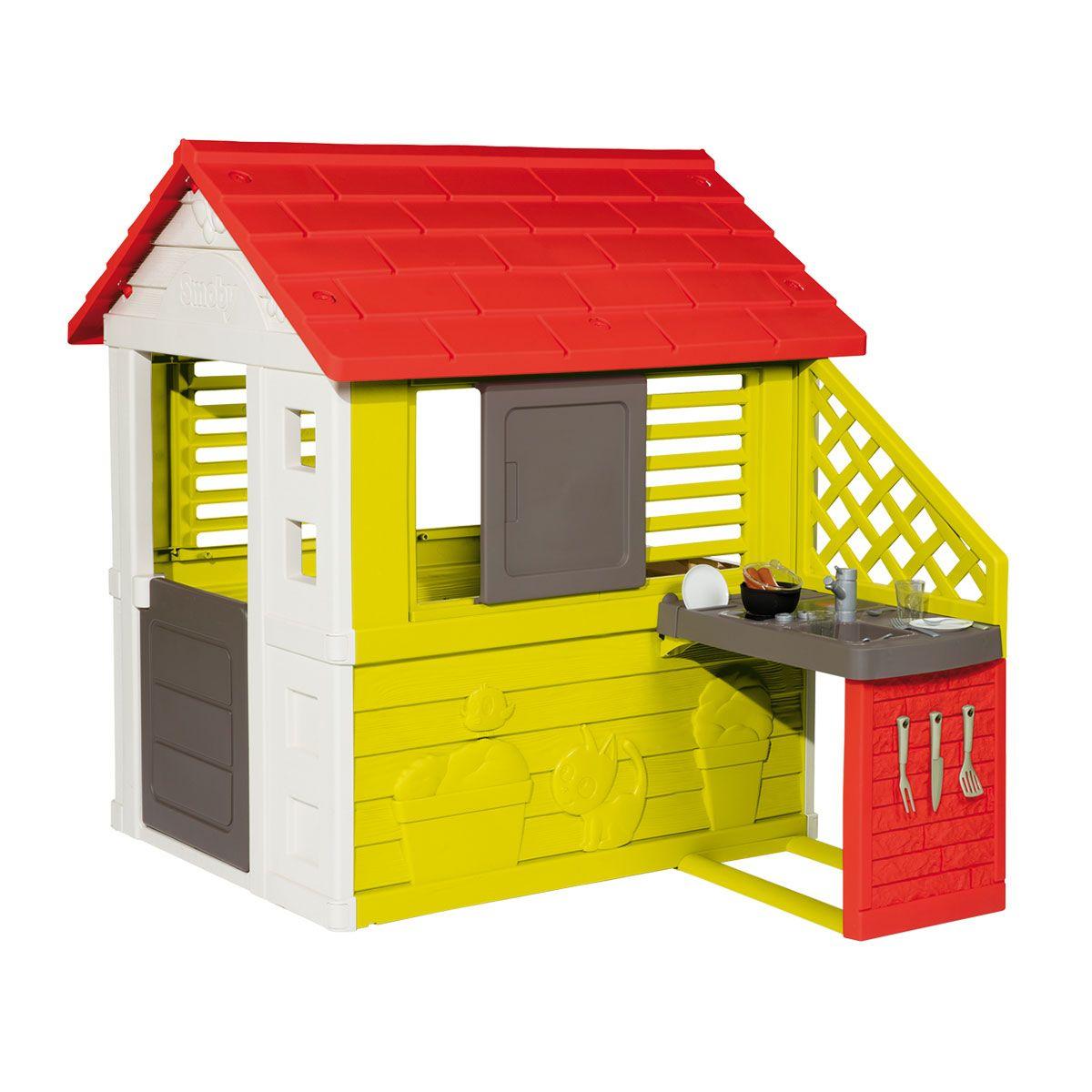 Maison Nature Avec Cuisine D'été Smoby Pour Enfant De 2 Ans ... destiné Maison De Jardin Smoby