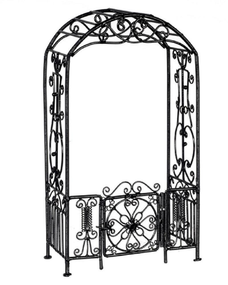 Maison Poupées Jardin Miniature Meubles Noir Fil Câblé Fer ... pour Arche De Jardin En Fer Forgé