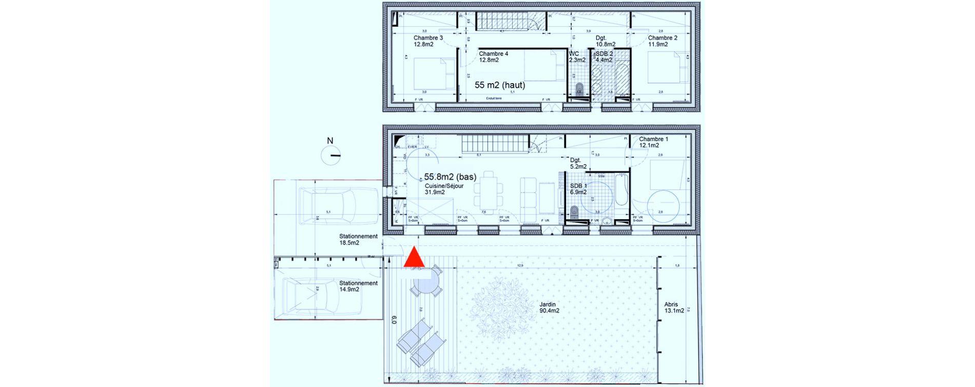 Maison T5 De 110.80M2 1Er Étage S Terre De Bassin Biganos ... intérieur Abri Jardin 2M2