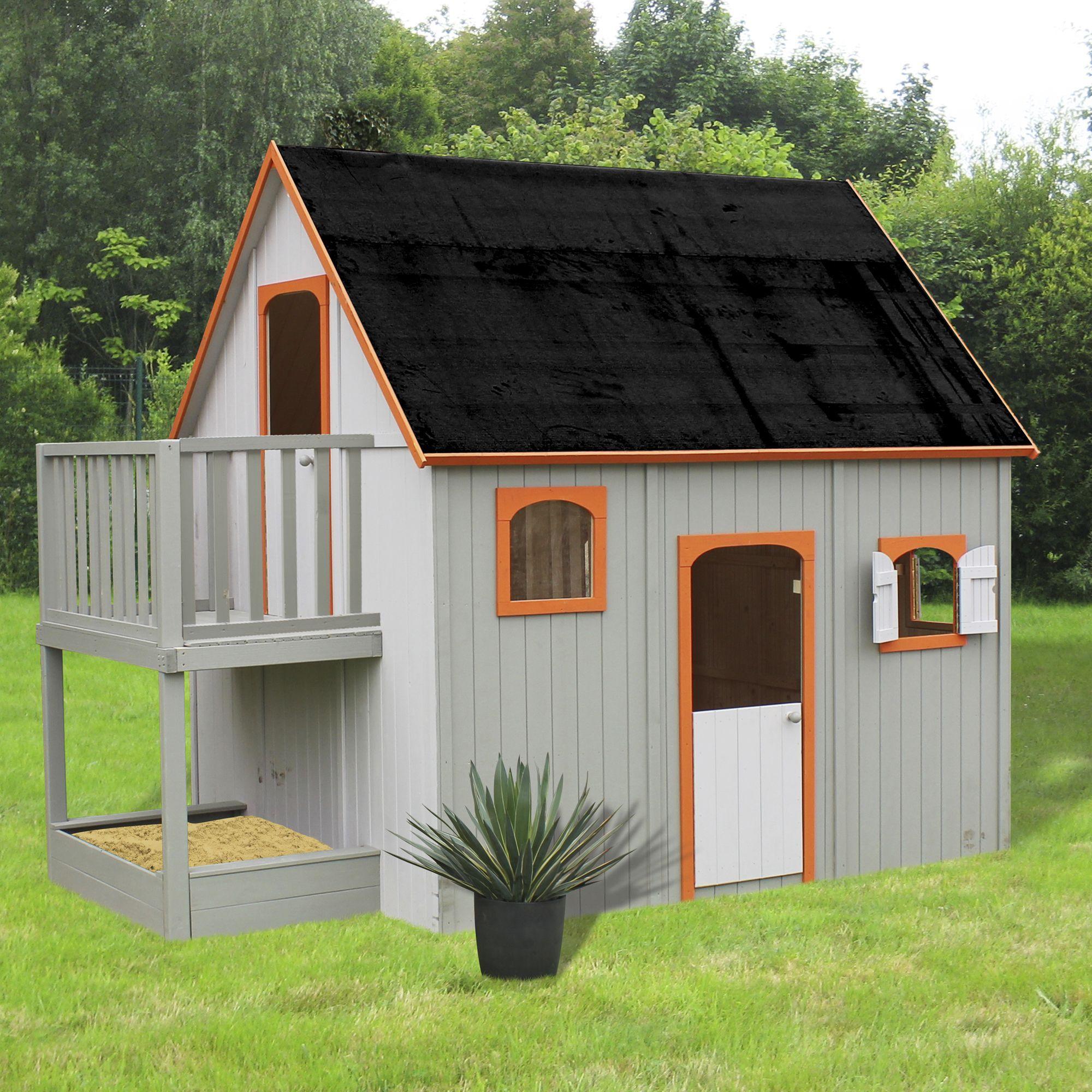 Maisonnette En Bois Avec Mezzanine, Balcon Et Bac À Sable ... à Maison Jardin Bois Enfant