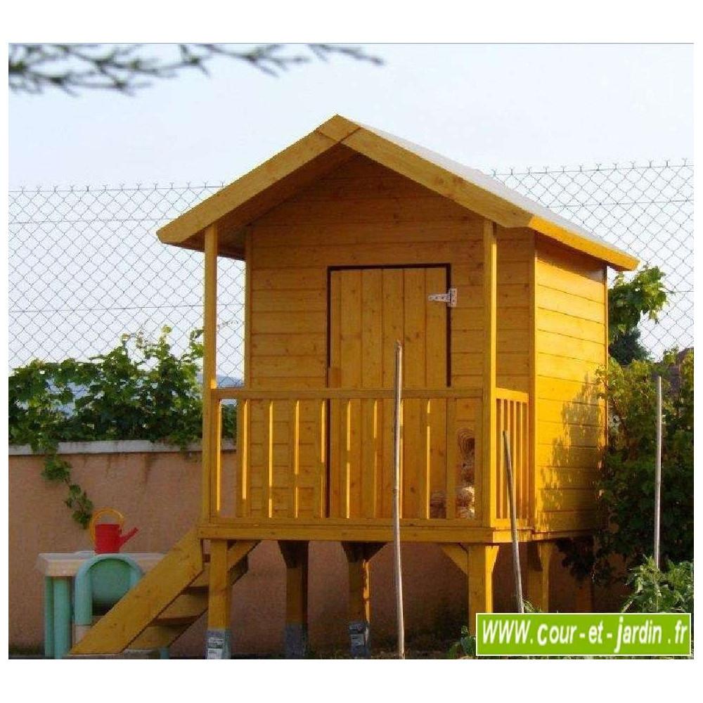 Maisonnette En Bois Sur Pilotis, Cabane De Jardin Enfants ... à Cabane De Jardin En Bois Enfant