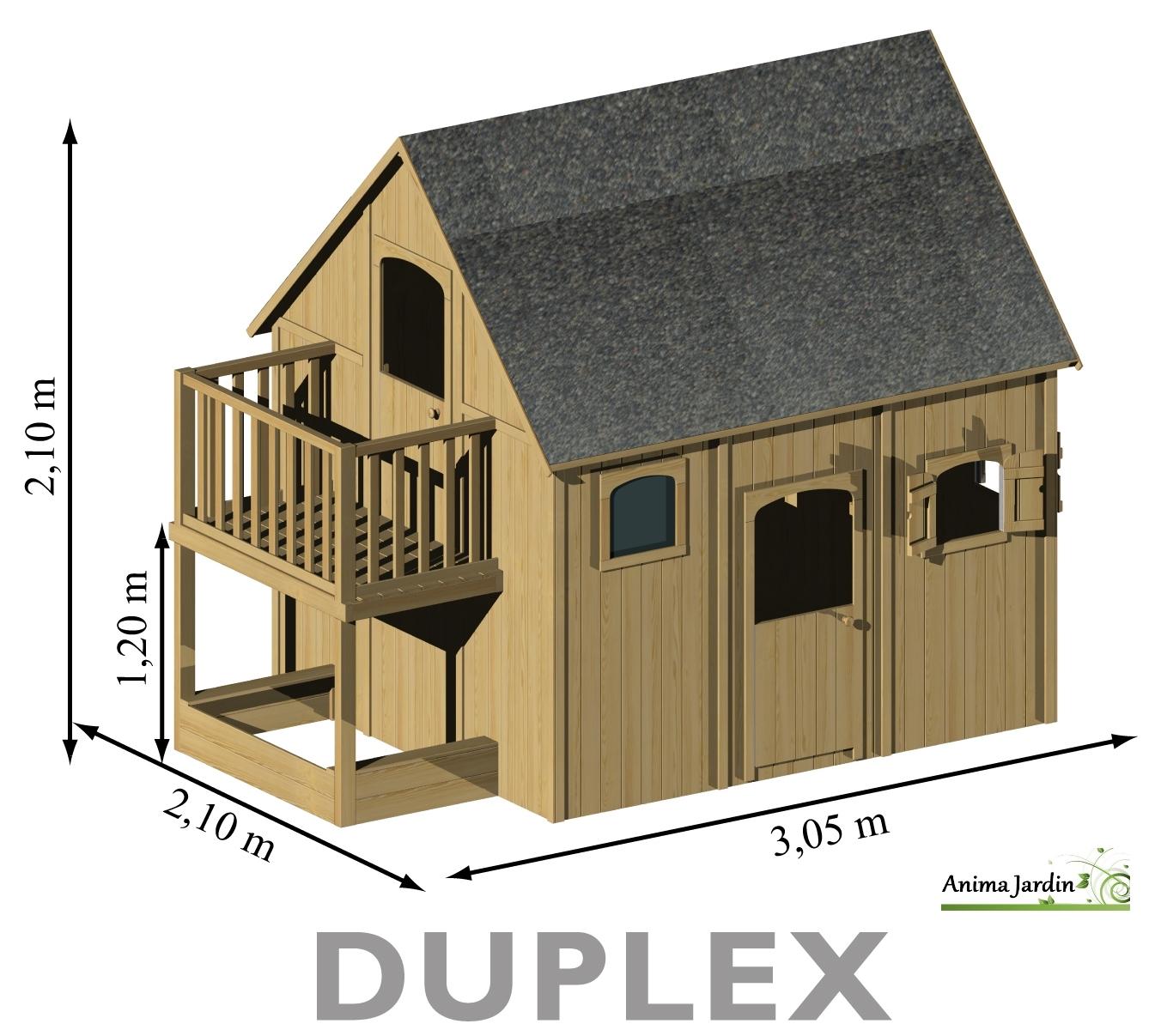 Maisonnette Enfant En Bois, Duplex, Mezzanine, Achat Pas ... avec Maison De Jardin Pour Enfants