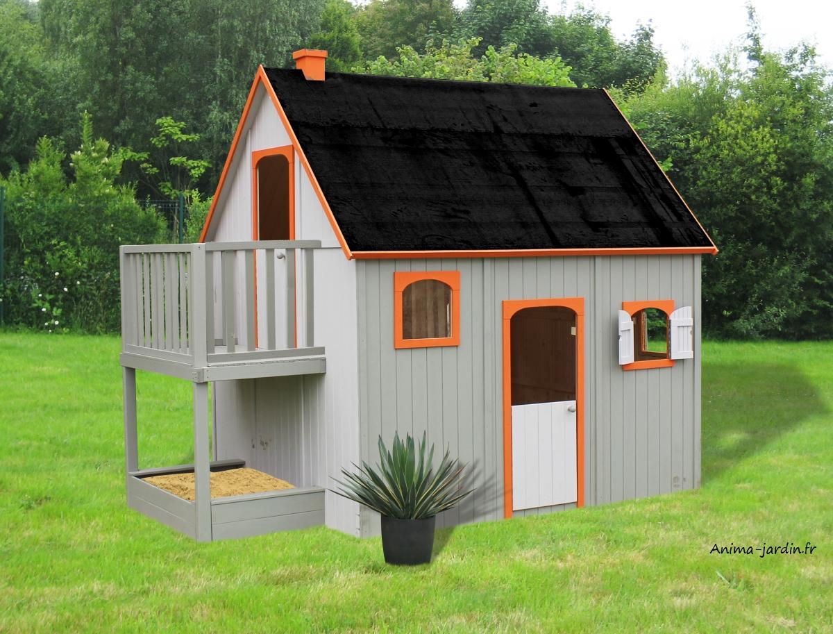 Maisonnette Enfant En Bois, Duplex, Mezzanine, Achat Pas ... intérieur Maisonnette De Jardin Pas Cher