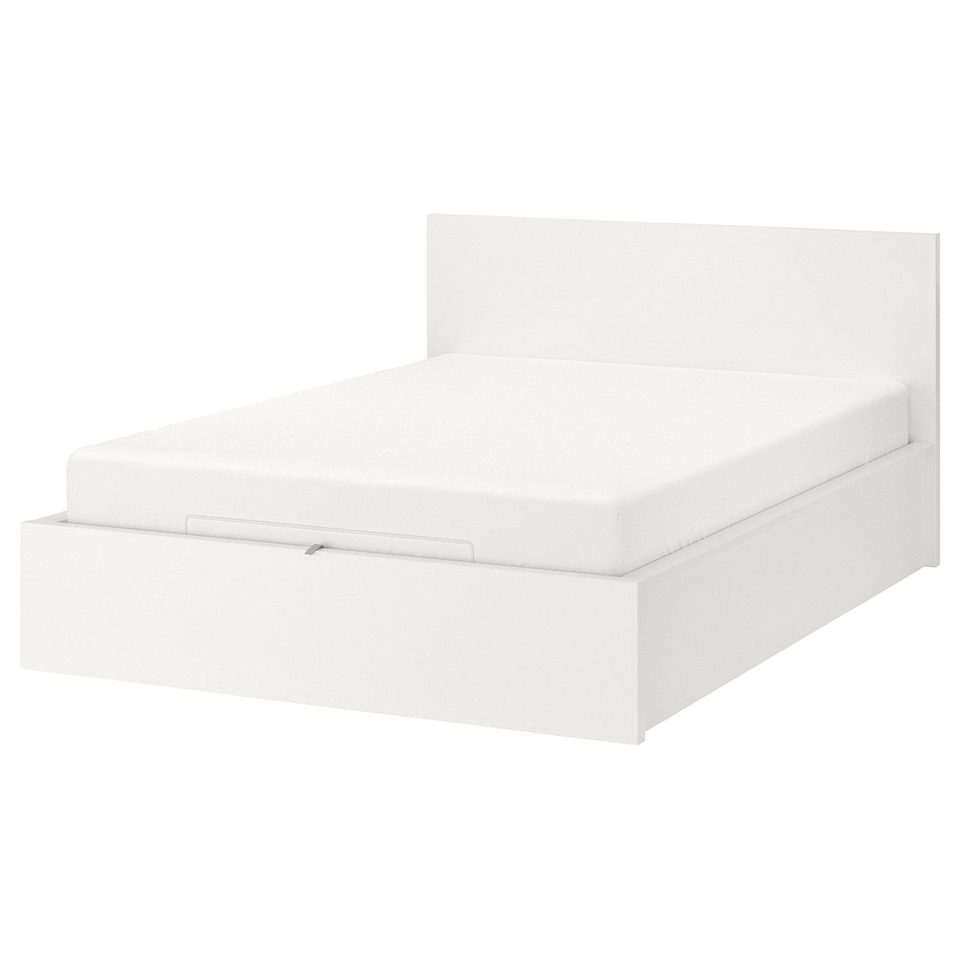 Malm Cadre Lit Coffre - Blanc 160X200 Cm avec Coffre De Jardin Ikea