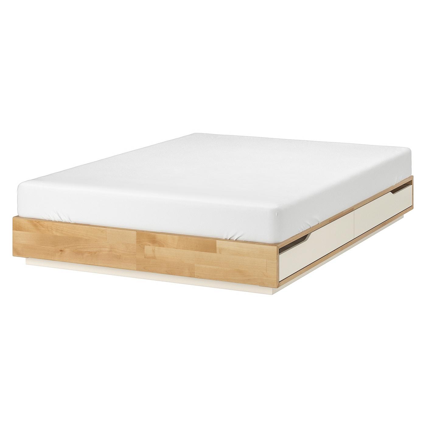 Mandal Cadre Lit Avec Rangement - Bouleau, Blanc 140X202 Cm pour Coffre De Jardin Ikea