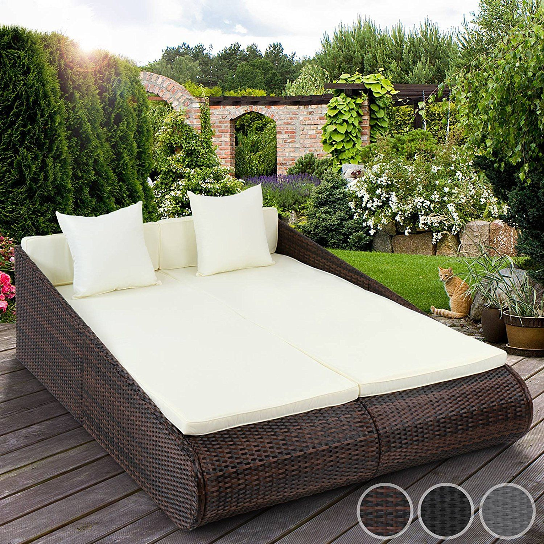 Miadomodo Poly-Rattan Sun Lounger Indoor Outdoor Garden Sofa ... concernant Lit De Jardin Double