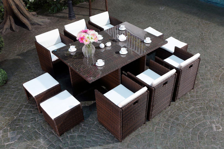 Miami 10 Marron/blanc concernant Table De Jardin 10 Personnes