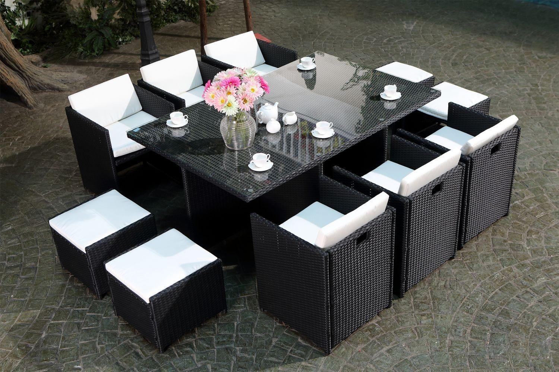 Miami 10 Noir/blanc avec Table De Jardin Resine Tressee 8 Places