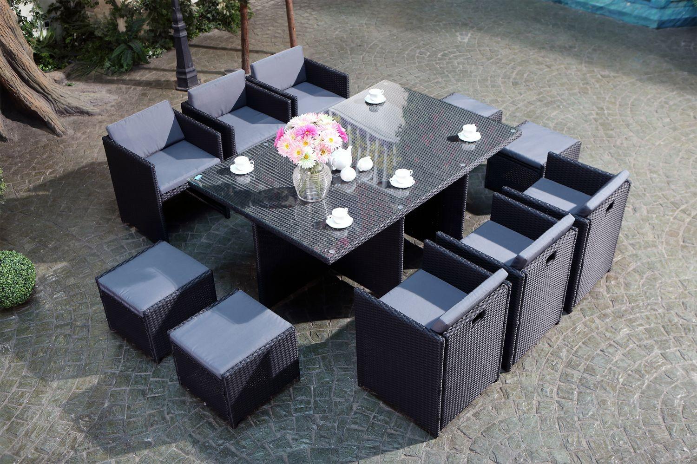 Miami 10 Noir/gris avec Salon De Jardin Encastrable 10 Places