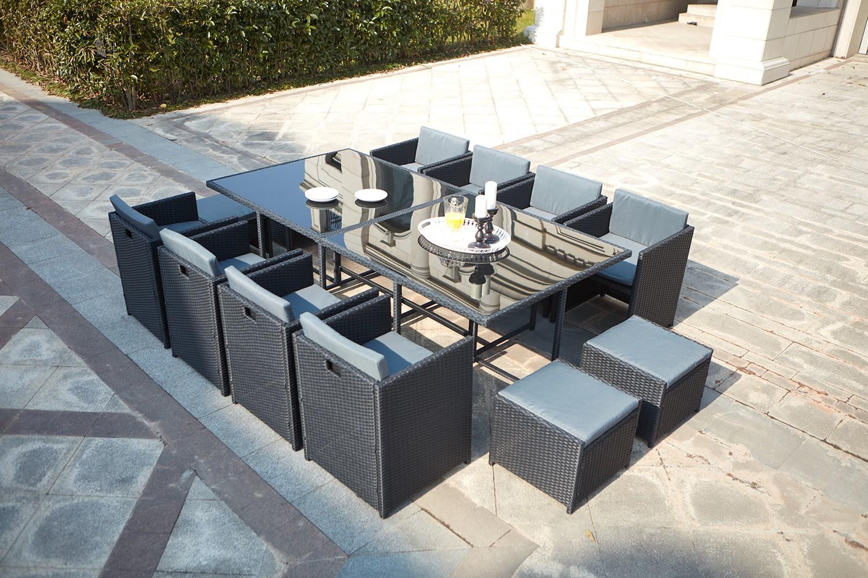 Miami 12 Noir/gris encequiconcerne Salon De Jardin 12 Places