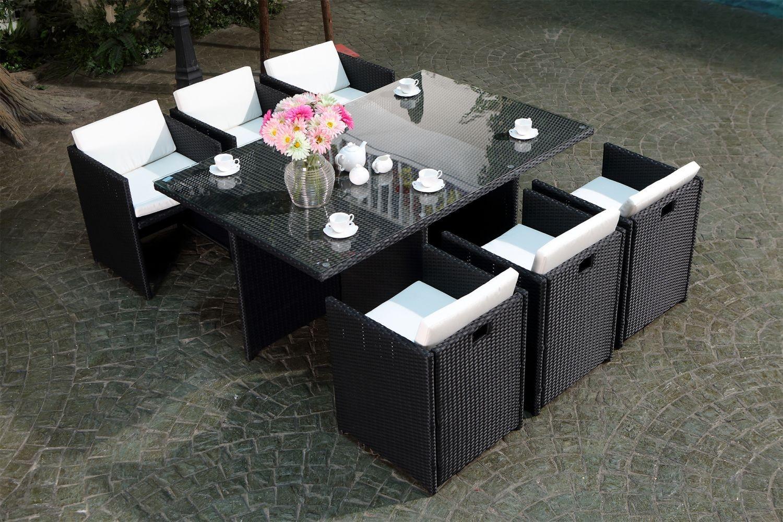 Miami 6 Noir/blanc à Ensemble Table Et Chaise De Jardin En Resine Pas Cher