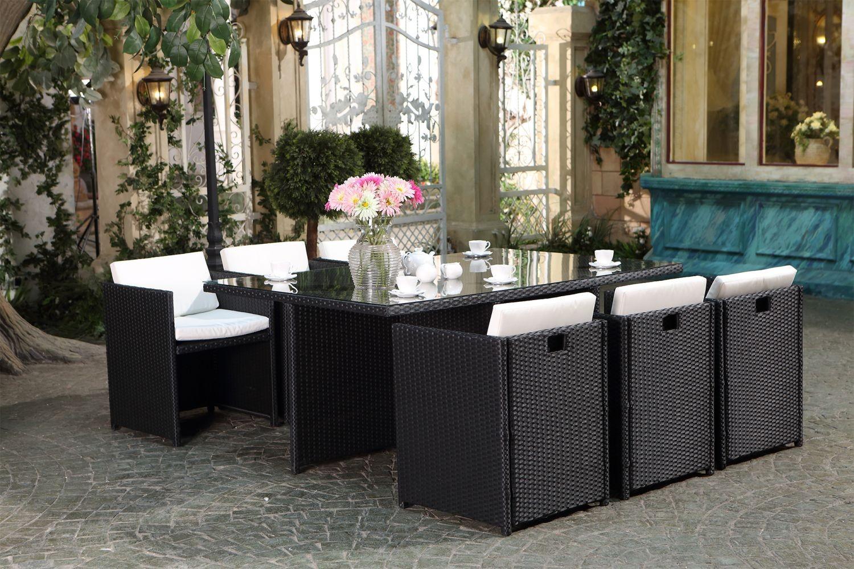 Miami 6 Noir/blanc pour Table Et Chaise De Jardin En Resine Tressee