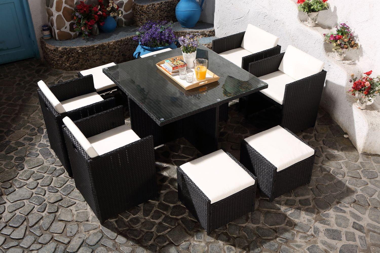 Miami 8 Noir/blanc avec Table De Jardin Carrée 8 Personnes