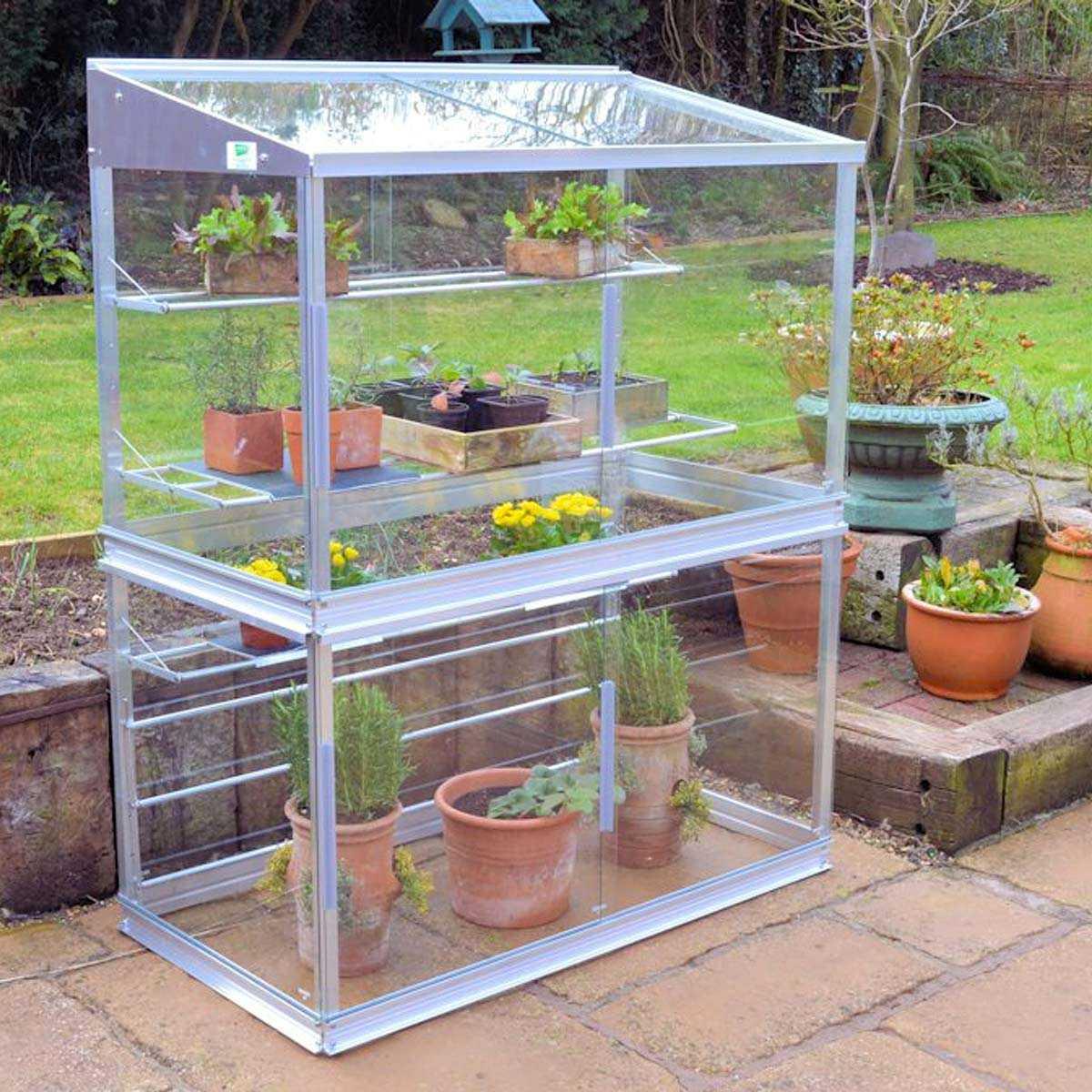 Mini Serre De Jardin En Verre Et Aluminium H.150Cm intérieur Petite Serres De Jardin