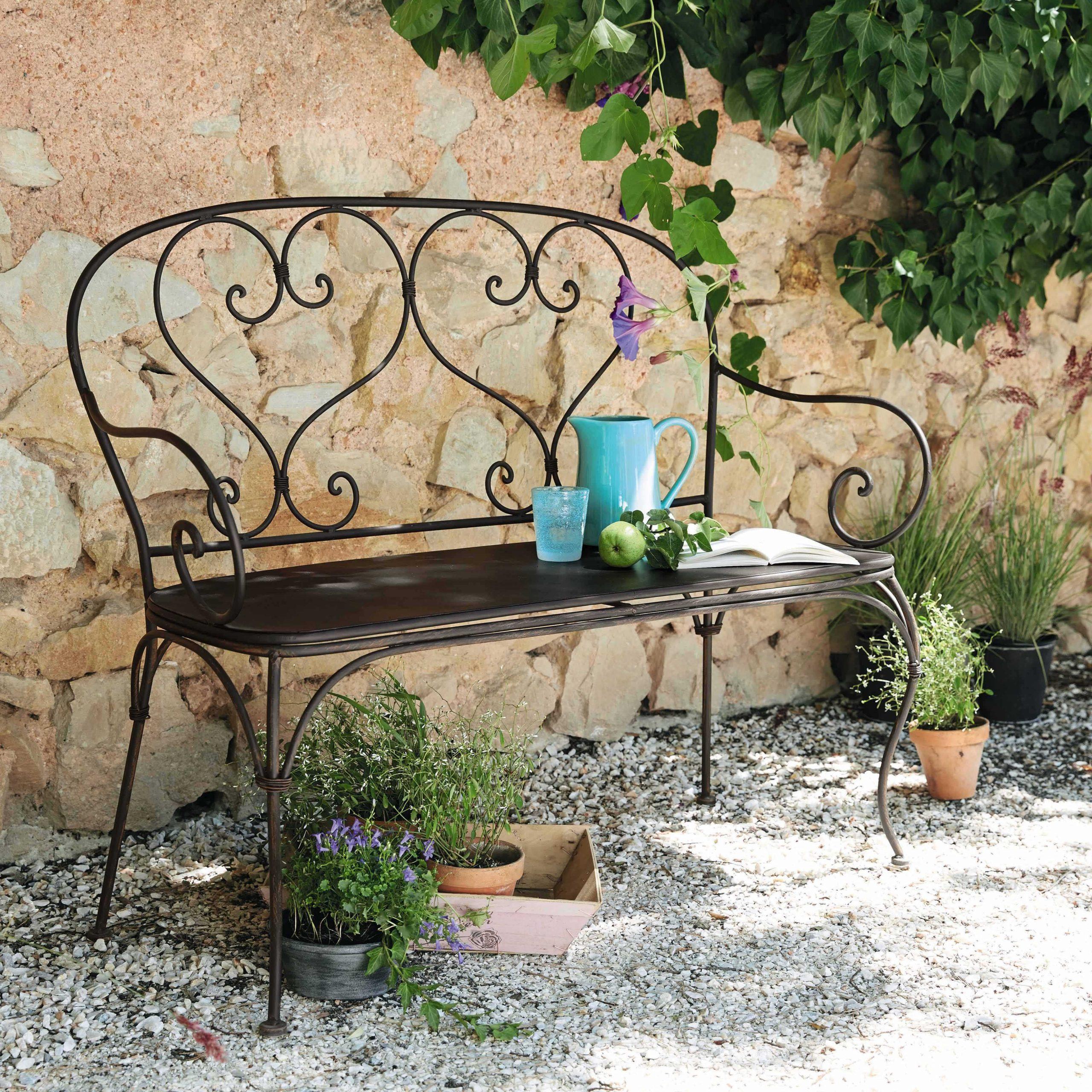 Mobilier De Jardin   Banquette Jardin, Mobilier Jardin Et ... tout Décoration Jardin Fer Forgé