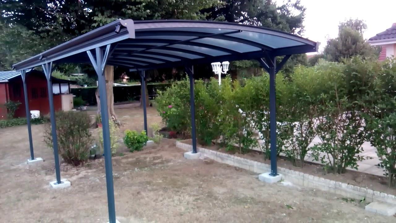 Mon Abri De Jardin - Carport En Aluminium Anthracite 3X5,05M ... dedans Montage Abri De Jardin Metal