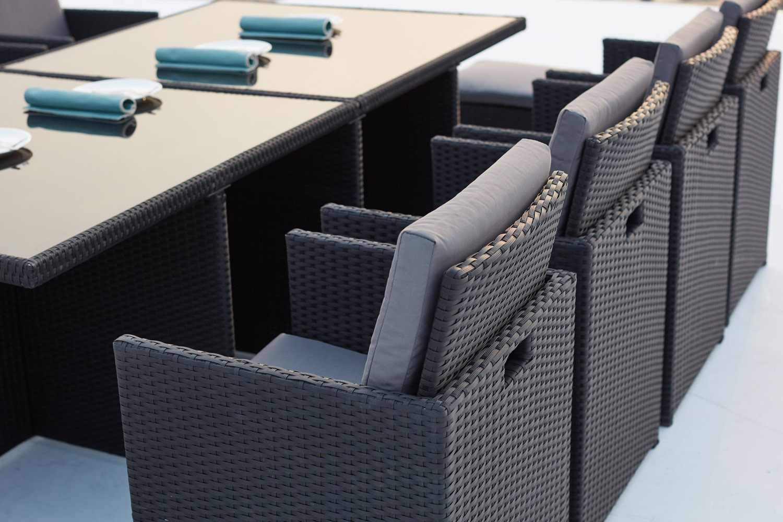 Monaco 12 Noir/gris avec Salon De Jardin Résine Tressée Encastrable
