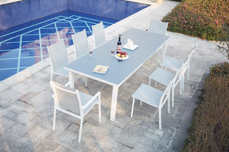 Moniga 8 serapportantà Table De Jardin Aluminium Et Verre
