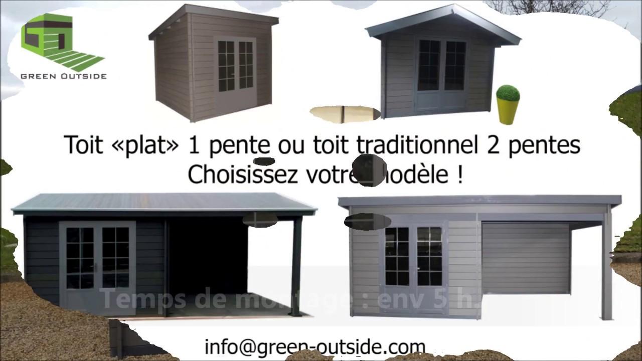 Montage Abri Composite Green Outside 3X3 Toit Plat avec Abri De Jardin En Composite