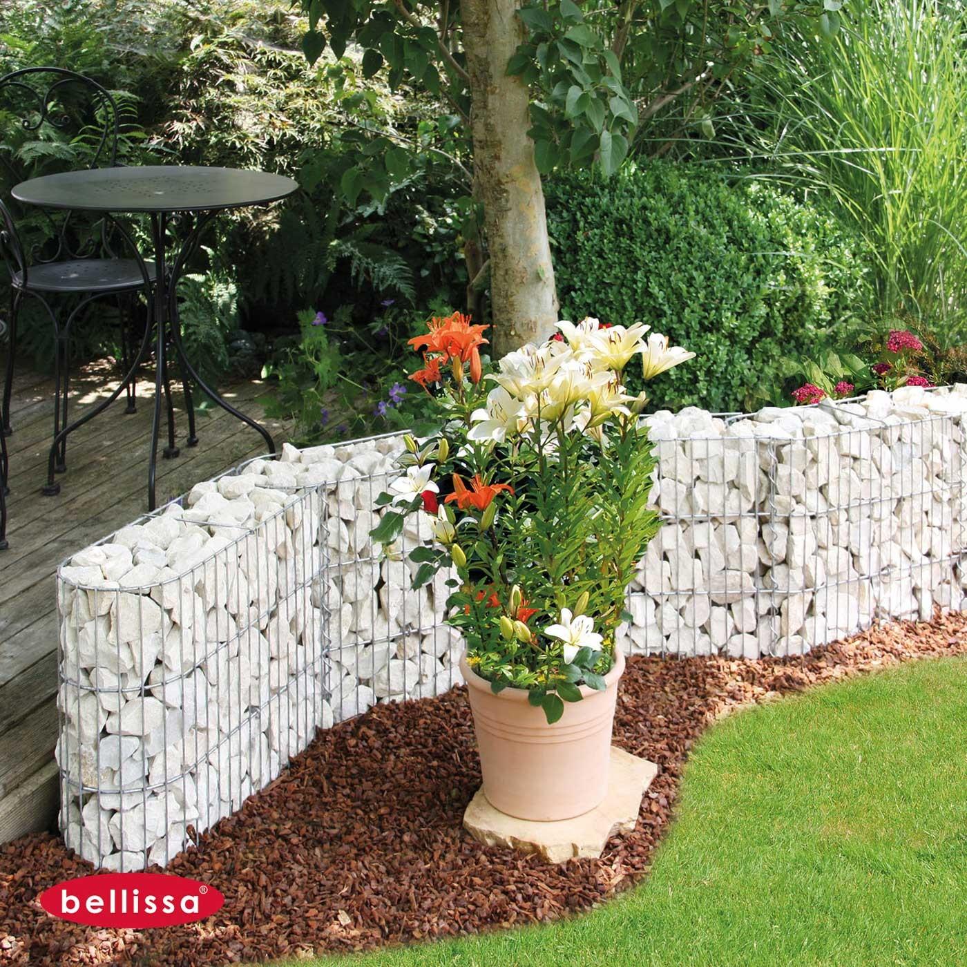 Muret De Jardin En Gabion En U 60 X 20 X 45 Cm Avec Galets serapportantà Jardin Avec Galets Blancs