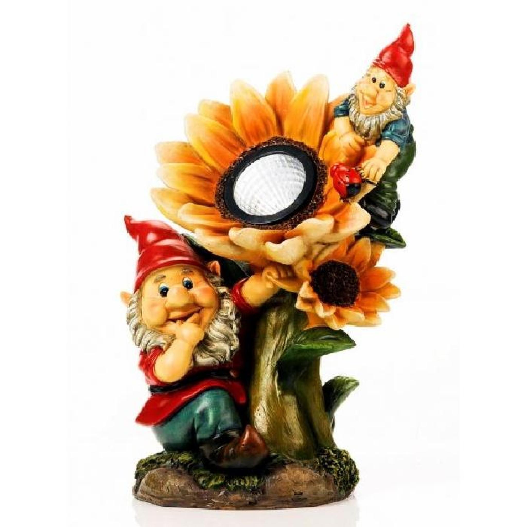 Nain De Jardin Avec Lampe Solaire Tournesol - M… serapportantà Nain De Jardin Pas Cher