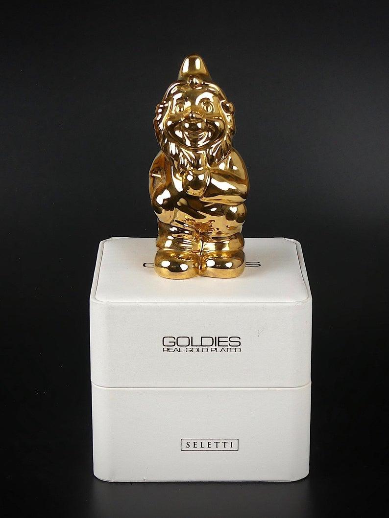Nain De Jardin Seletti Design Goldies En Porcelaine Fine Plaqué Or  Véritable / Garden Gnome Seletti Goldies Fine Porcelain Plated Real Gold pour Nain De Jardin Design