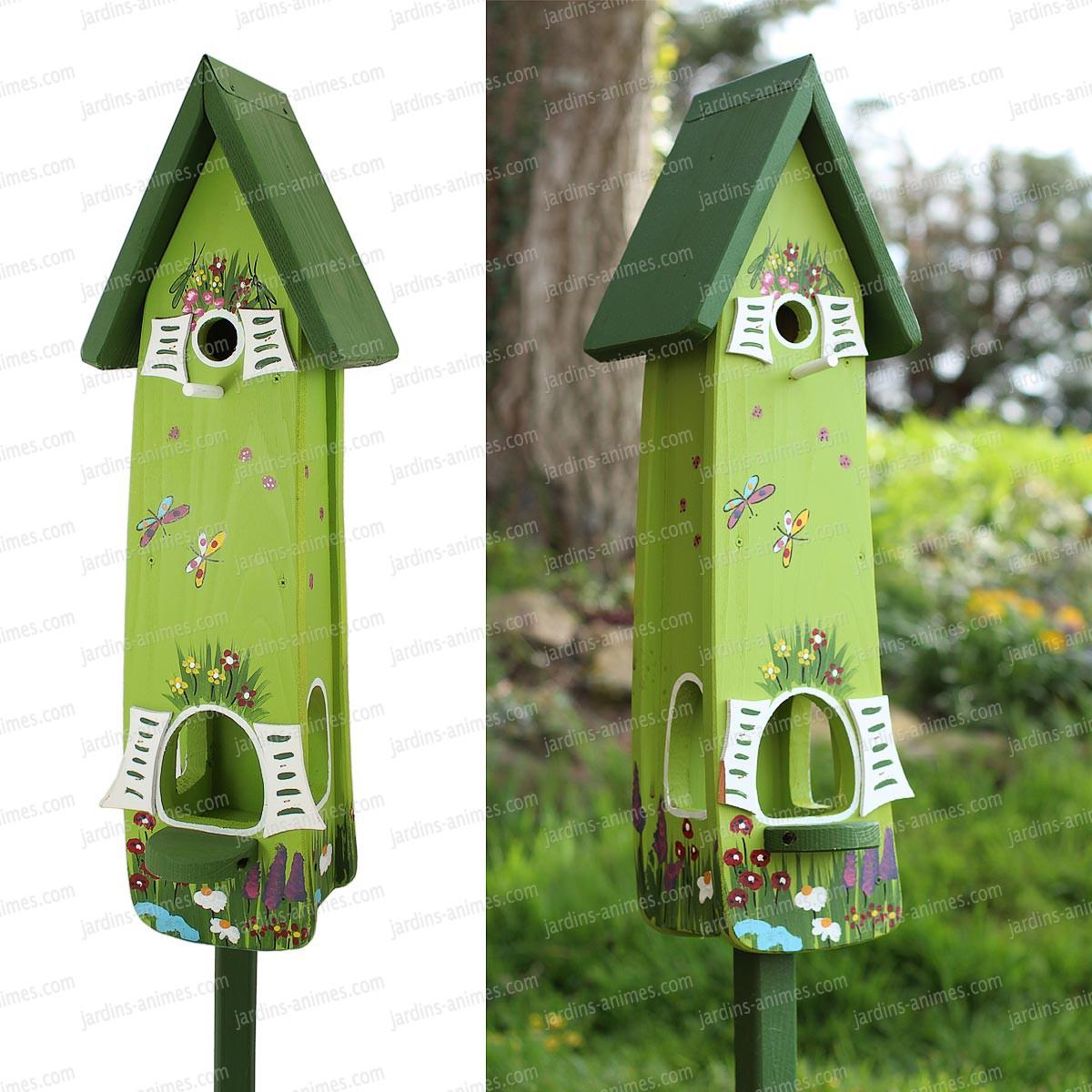 Nichoir Et Mangeoire Jardin Magique Vert intérieur Abri Oiseau Jardin