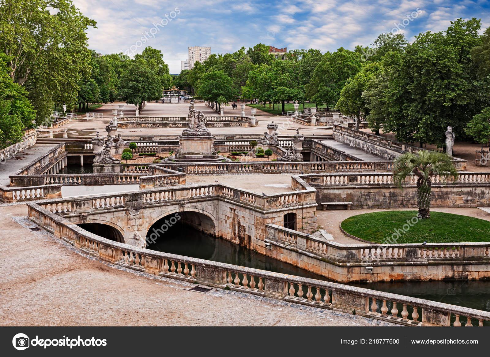 Nimes France Ancient Gardens Fountain French Jardins ... concernant Fontaine De Jardin En Fonte