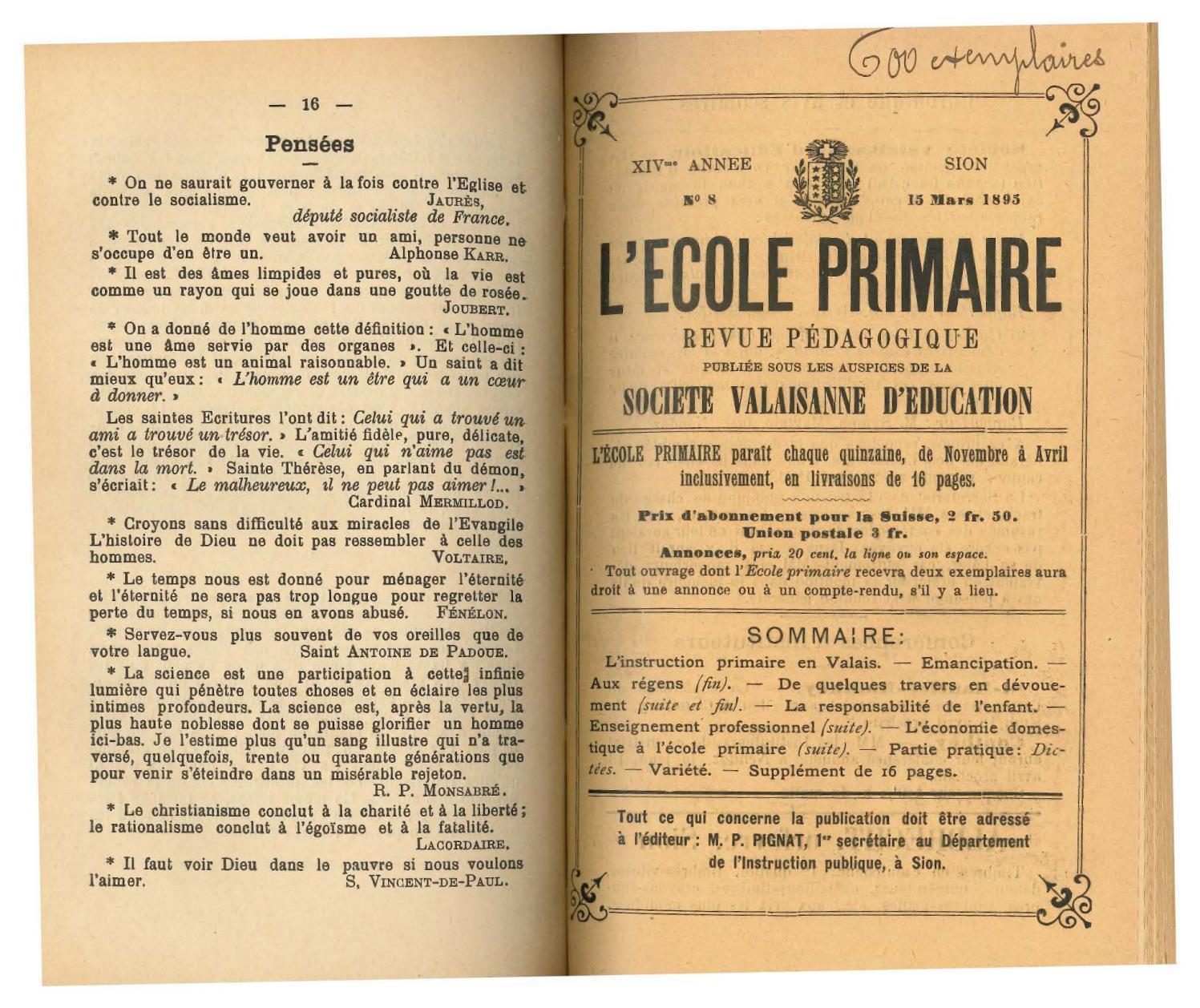 No 08 L'ecole Primaire, 15 Mars 1895 By Résonances, Mensuel ... concernant Abonnement L Ami Des Jardins