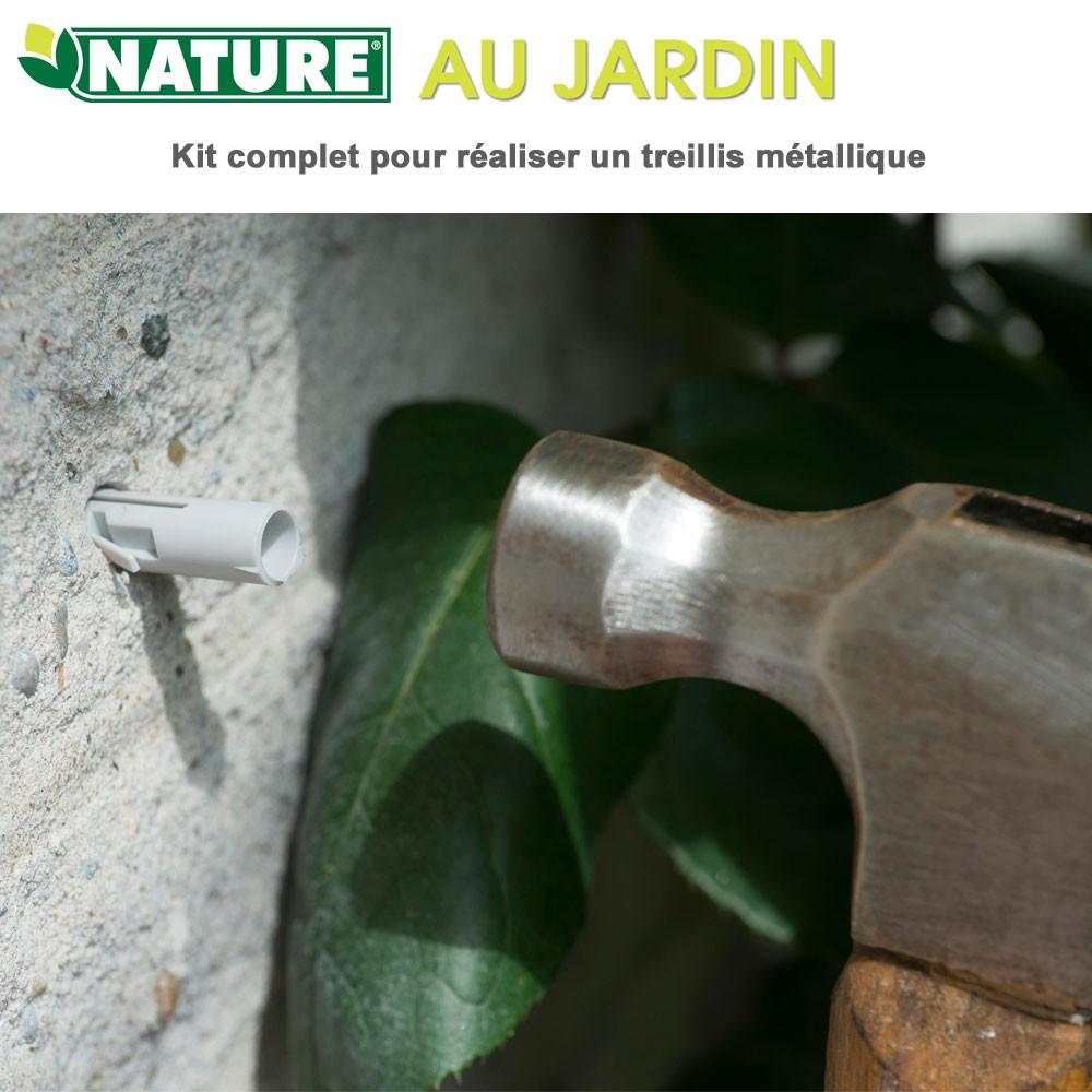 Ø1,8 Mm X 10 M Nature Kit Complet Pour Treillis Métallique ... tout Treillis Metal Jardin