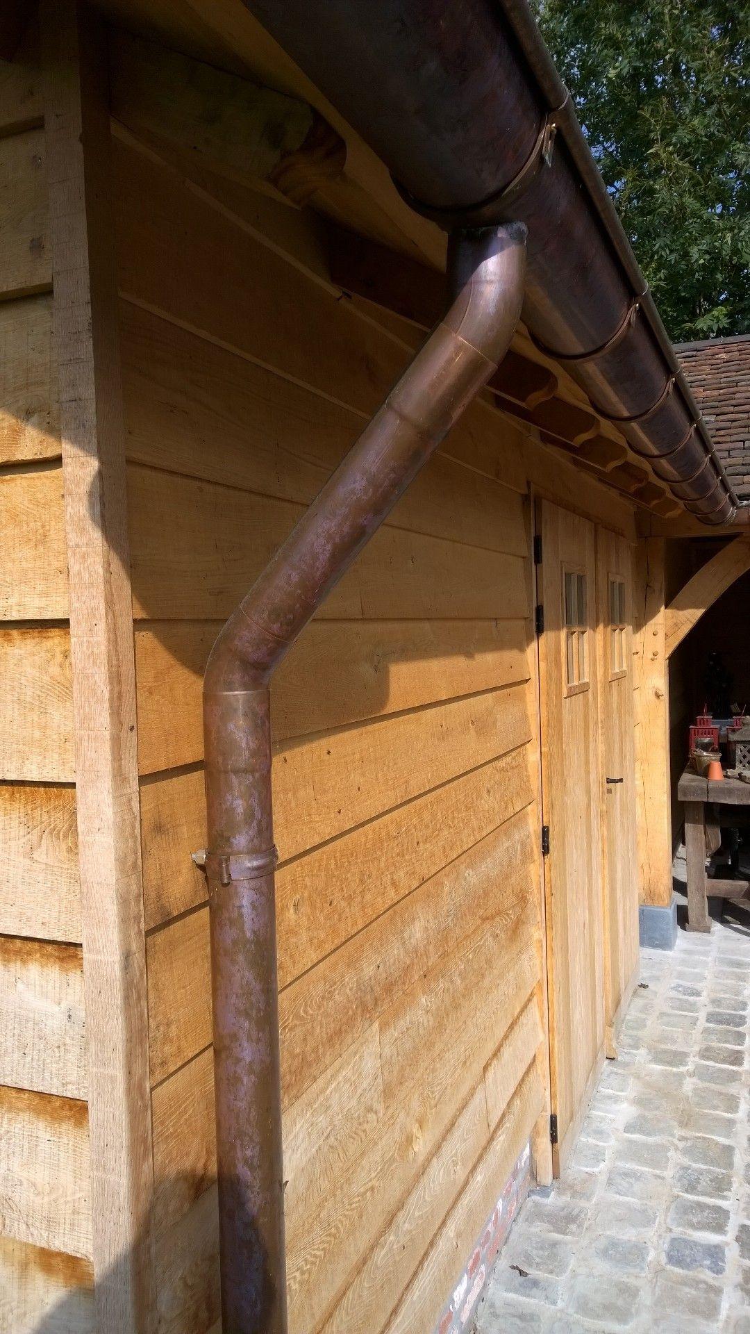 Oak Wood Pool House Copper Gutter Detail   Idées Pour La ... dedans Gouttière Pour Abri De Jardin